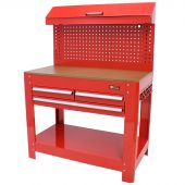 George Tools Werkbank mit Werkzeugwand, 3 Schubladen rot