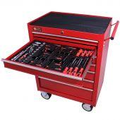 George Tools Werkzeugwagen gefüllt 7 Schubladen 80-teilig rot