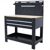 George Tools Werkbank mit Wand & LED 3 Schubladen MDF 115 cm schwarz