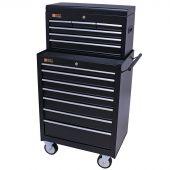 George Tools Werkzeugwagen mit Kiste 13 Schubladen schwarz