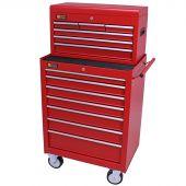 George Tools Werkzeugwagen mit Kiste 13 Schubladen rot