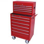George Tools Werkzeugwagen mit Kiste 12 Schubladen rot