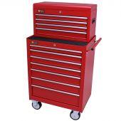 George Tools Werkzeugwagen mit Kiste 11 Schubladen rot