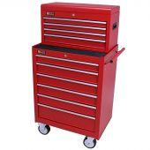 George Tools Werkzeugwagen mit Kiste 10 Schubladen rot