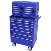 George Tools Werkzeugwagen mit Kiste 13 Schubladen blau