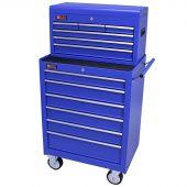 George Tools Werkzeugwagen mit Kiste 12 Schubladen blau