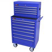 George Tools Werkzeugwagen mit Kiste 11 Schubladen blau