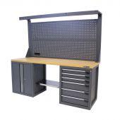 Kraftmeister Werkbank mit Wand 6 Schubladen 2 Türen MDF 200 cm grau