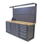 Kraftmeister Werkbank mit Wand 12 Schubladen 2 Türen Eiche 200 cm grau